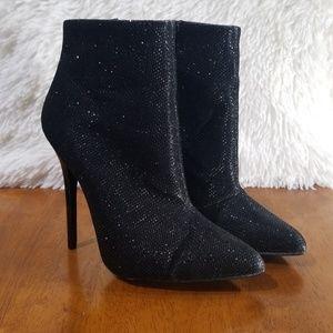 Qupid Black Sparkling Booties